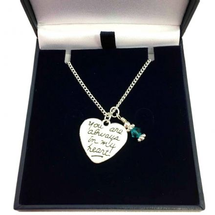 Memorial Necklace with Birthstone, Always in My Heart